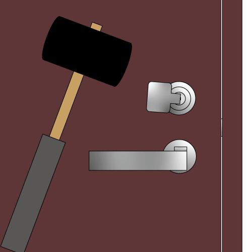 玄関の鍵にバンピングするイラスト