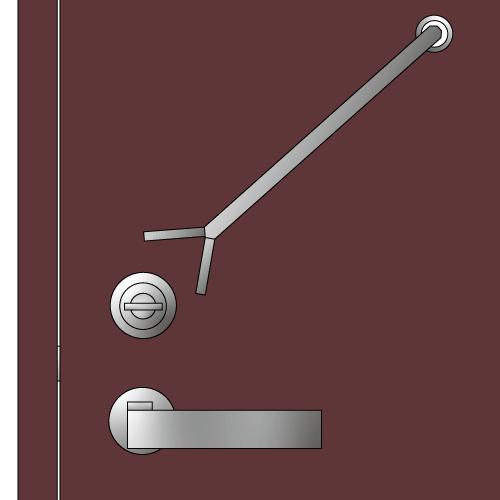 ドアスコープからサムターンを特殊工具で回すイラスト