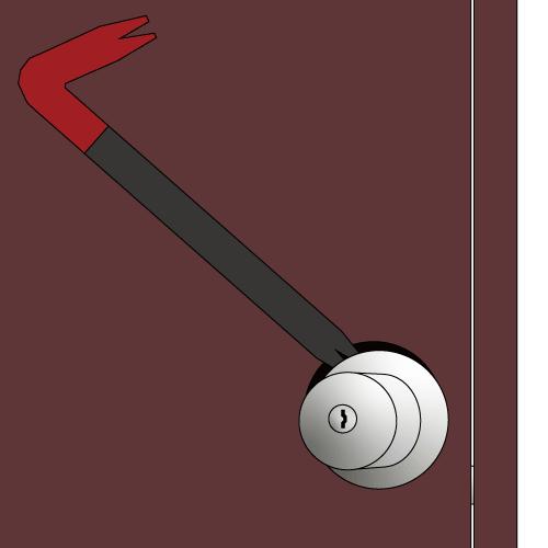 バールでシリンダーをもぎとるイラスト